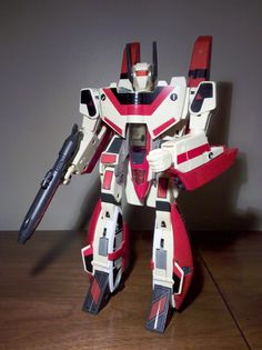 Jetfire! The best of all Transformers for a long time. I received Jetfire in the morning of my birthday in 1985 so I could take my present to school. The model actually looks nothing like the TV character. It is a Veritech fighter from the Robotech series. Harmony Gold lost a legal battle with Hasbro, so their version of the Veritech couldn't transform, and was quite lame.