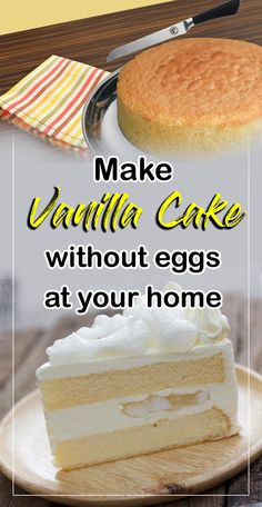 No eggs, no milk, no butter, this Vanilla Crazy Cake are great for people with food allergies. Also called Wacky Cake or Depression Cake, this recipe is a quick and delicious way to satisfy our sweet tooth. Save this easy awesome recipe! Eggless Vanilla Cake Recipe, Eggless Recipes, Eggless Baking, Homemade Cake Recipes, Cake Recipes At Home, Vegan Vanilla Cake, Moist Vanilla Cake, Eggless Desserts, Mug Cakes