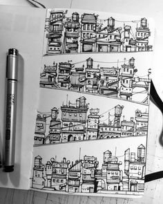 Art sketchbook, sketchbook inspiration, cityscape drawing, cityscape art, a Drawing Sketches, Art Drawings, Town Drawing, Drawing Drawing, House Drawing, Drawing Ideas, Architecture Drawing Art, Ancient Architecture, Arte Sketchbook