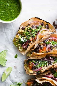 20 minutes Celebrating food freedom with charred sweet potato and brussels sprout tacos! These tacos are compliant and serve as the perfect base to reintroduce foods back into your system Veggie Recipes, Mexican Food Recipes, Whole Food Recipes, Vegetarian Recipes, Dinner Recipes, Cooking Recipes, Healthy Recipes, Vegetarian Tacos, Think Food