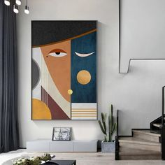 Modern Figure Abstract Geometric Canvas Painting Contemporary Art Poster Print Faces Wall Art Picture for Living Room Home Decor Living Room Pictures, Wall Art Pictures, Print Pictures, Pictures To Paint, Diy Canvas Art, Canvas Wall Art, Empty Canvas, Art Picasso, Images D'art