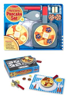 Flip & Serve Pancake Set - Wooden Play Food: Who's ready for breakfast? With this wooden set, a young chef can prepare two golden-brown pancakes with all the fixings: chocolate chips, blueberries, bananas, and pats of butter. Plus the skillet, knife, spatula, and removable place setting mean hours of pretend-play fun.