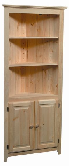 Pine-Corner-Cabinet-w-Lower-Doors