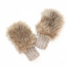 Taupe Faux Fur Handwarmers