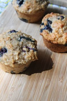Oatmeal, Greek yogurt, blueberries, and whole wheat flour make this muffin a POWERful way to start the day!