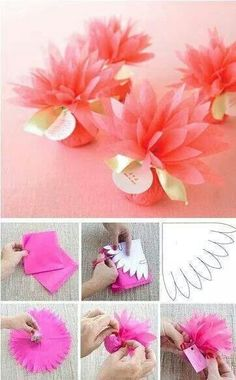 This would be super sweet to use for party favors at Nevaeh's birthday - Wedding Favors Flower Crafts, Diy Flowers, Diy And Crafts, Paper Crafts, Candy Crafts, Fleurs Diy, Tissue Paper Flowers, Diy Gifts, Party Favors