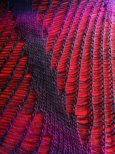 "drop stitch diagonal ~ from Kieran Foley on his blog site ""I'm currently working on publishing some diagonal drop stitch patterns that I blogged about last year. Zauberball swatches"""