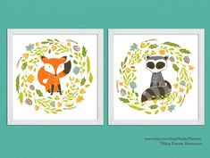 This is a set of two 8x8 illustrated prints of a fox and raccoon by Tiffany Everett on Kudzu Monster.  Etsy.com/shop/KudzuMonster