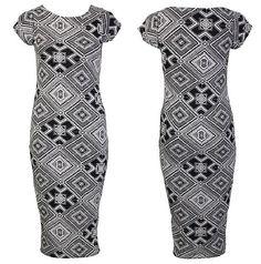 New Womens Ladies Sixties Siren Mono Chrome Diamo Geo Pattern Printed Midi Dress
