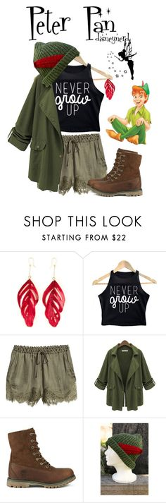 """Peter Pan Disneybound"" by disneynerd16 ❤ liked on Polyvore featuring Disney, Aurélie Bidermann, H&M and Timberland"