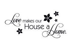 - Nieuw - Love makes our House a Home, 80x35cm, vanaf 31,90 €