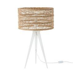Miller lampe de table bois naturel et bleu marine