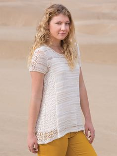 ANNIE'S SIGNATURE DESIGN: Marbella Tee Knit Pattern designed by Lena Skvagerson for Annie's. Order here: https://www.anniescatalog.com/detail.html?prod_id=135599&cat_id=1021