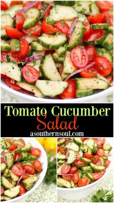 Salad is a refreshing dish that packs a punch of fresh flavor. It's simple to make with a bright dressing full of herbs. This is one delightful salad that's like a burst of summer on your plate! Cucumber Salad is a refreshing dish that packs a pun Cucumber Tomato Salad, Cucumber Recipes, Cucumber Dressing, Cucumber Salad Vinegar, Cucmber Salad, Grape Tomato Recipes Salad, English Cucumber Salad Recipe, Recipes With Cucumbers, Cucumber Cleanse