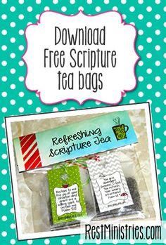 FREE PRINTABLE Scripture Tea Bags - 6 Designs.