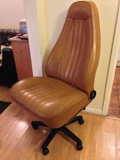 Office chair built from an old Porsche car seat....