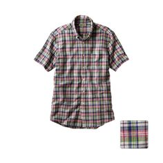 MEN Cotton Linen Madras Check Short Sleeve Shirt N
