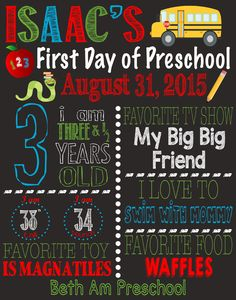 First Day of School Sign available at : http://etsy.com/shop/SimplebyBrooke?section_id=17469405&ref=shopsection_leftnav_9  First Day of School Sign - First Day of Preschool - First Day of Kindergarten - First Day of First Grade - Back to School Sign - First Day of Second Grade Sign - First Day of School Chalkboard - First Day of Preschool Chalkboard - Fist Day of Kindergarten Chalkboard - Back to School Printable - First Day of School Printable