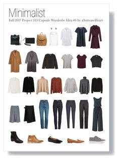 """Fall 2017 Project 333 Capsule Wardrobe 6 - Minimalist"" by asuitcaseheart ❤ . Capsule Outfits, Fall Capsule Wardrobe, Fashion Capsule, Work Wardrobe, Fashion Outfits, Womens Fashion, Fall Wardrobe Essentials, Fall Travel Wardrobe, Stylish Outfits"