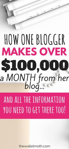 This post details EXACTLY how this blogger makes over $100,000 every month with her blog. A must read to learn to make money blogging online, how to use affiliate marketing to grow your blog and more!