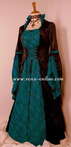Brown/Teal Medieval Inspired Dress