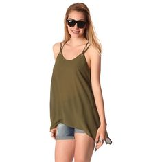 Khaki long line cami top with ring detail – Fashion Gal Freedom