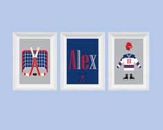 Hockey Decor Nursery Art Personalized Name Sports Art Custom Print Boy's Room Decor Wall Art Print Set of 3 - 8x10 Kids Room