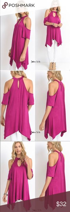 e8e2770e7c9857 Asymmetrical tunic Vibrant magenta chic tunic with cold shoulders and  asymmetrical hem. ✓️Made in the USA ✓️Bust Small Medium Large Boutique Tops  Tunics