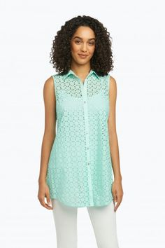 50531a4c6cdfa Cici Sleeveless Tunic in Geo-Eyelet Combo Sleeveless Tunic