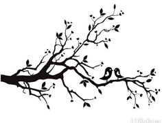 tree with birds clipart free | Cherry Blossom Branch Bird Vinyl Wall Decal Wd F image - vector clip ...