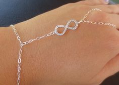 Sterling silver chain hand bracelet with micro by PanachebyAmanda, $35.20