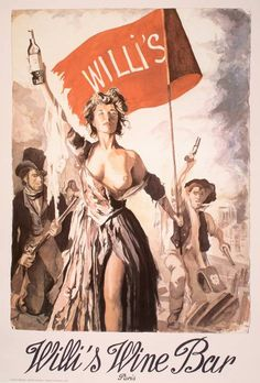 This is an original lithographic poster printed on heavy weight paper. It was created for the well known Wine Bar  called Willi's located in the heart of Paris. Each year they commssion a noted artist to create a unique design for their bar. This image promotes the memories of the glory days of the French Revolution and the uprising of the French people.