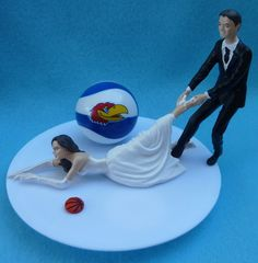 Wedding Cake Topper University of Kansas Jayhawks KU G Basketball Themed w/ Garter, Display Box. $59.99, via Etsy.