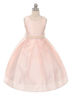 Blush Gorgeous Shantung Pleated with Pearl Sash Flower Girl Dress (Available in Sizes 2-12 in 7 Colors)