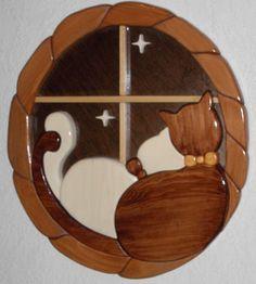 Wood Intarsia Cat