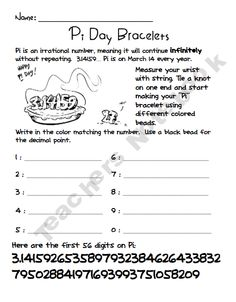 picture about Pi Day Worksheets Printable identify 48 Perfect Pi Working day photographs within 2019 Pi working day, Instruction math, Enjoyable math
