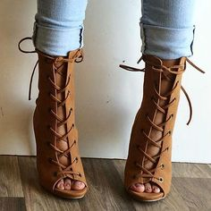 Head over Heels - Double Lace Up Open Toe Booties Bootie Sandals, Lace Up Sandals, Bootie Boots, Shoe Boots, Shoes Heels, Dress Shoes, Ankle Boots, High Heels Outfit, Shoes Sneakers