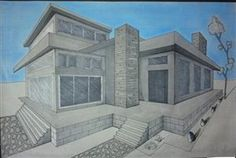 more 2pt house drawings using pen & ink, colored pencil, charcoal, and pastels