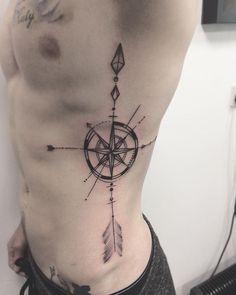 Single Arrow Compass Tattoo on Body Side