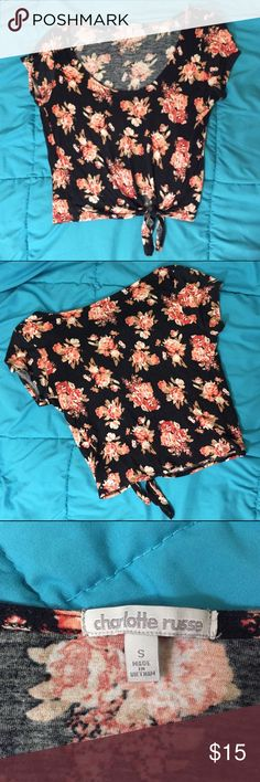 """Floral Crop Top - Charlotte Russe Floral (pink, cream, black) crop top from Charlotte Russe. Size S. Excellent used condition. The knot/hole is off center. Bundle 2 or more things for 10% off, and feel free to make an offer! If you want to know my measurements, check my """"Meet Your Posher"""" listing! If you have any other questions, feel free to ask!❤ Charlotte Russe Tops Crop Tops"""