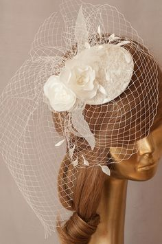 BIRDCAGE VEIL. Bridal Ivory Hat with birdcage veil and Lace and Flowers.  Wedding FASCINATOR with Weil