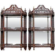 Antique Pair Mahogany Hanging Vitrines / Wall Display Shelf from hollisandknight on Ruby Lane