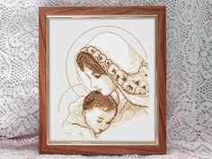 Madonna and Child Virgin Mary and Jesus cute cross by DecorByTwins