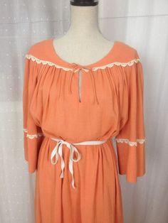 Vintage Boho Coco of California Hippy Sheath Dress Peach Ivory Lace LOVELY #CocoCalifornia