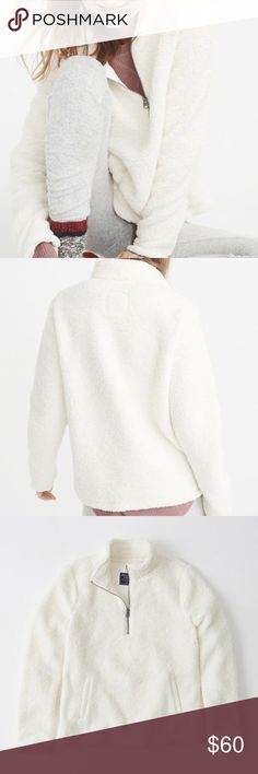 [NEW] •A&F Off-White Sherpa Half Zip Pullover• Brand New with Tags Super soft and comfy  Stretchy material Features a kangaroo pouch just like Patagonia Abercrombie & Fitch Sweaters