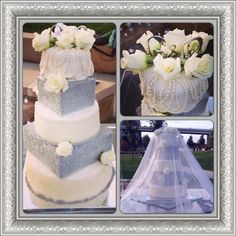 WEDDING CAKE WITH FLORALS AND BLING, PAIGE BROWN DESIGNS, NASHVILLE TENNESSEE WEDDING. WEDDING CAKE BY DEVYNE DELIGHTS
