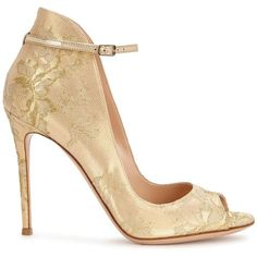 Womens High-Heel Pumps Gianvito Rossi Rioko Gold Leather And Lace... ($780) ❤ liked on Polyvore featuring shoes, pumps, leather shoes, open-toe pumps, high heel shoes, gold shoes and leather pumps