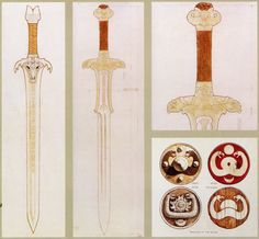 Conan the Barbarian - pre-production art by Ron Cobb: 'Master (aka Father) Sword' (left), 'Atlantean Sword (middle), Atlantean Sword hilt detail (upper right) and Snake Cult symbology (lower right) Conan The Barbarian 1982, Movie Special Effects, Conan The Destroyer, Conan The Conqueror, Sword Hilt, Sword Drawing, Medieval, High Fantasy, Illustrations And Posters