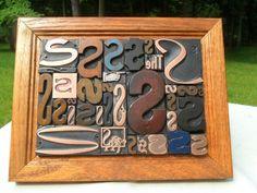 Antique Letterpress Type Graphic Design Letter S Wood & Copper In Frame 34 Piece
