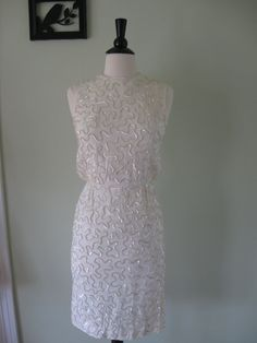 Vintage 60's Off White Beaded Cocktail Wiggle Dress by MintMarket, $140.00